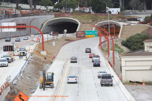 Presidio Parkway (Doyle Drive) P3, Phase 2 traffic switch completed, traffic on new final roadway alignment, Golden Gate Bridge.