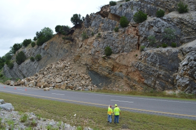 Damage- I-35 Arbuckle rock slide stabilization