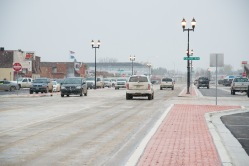 Traffic flows freely on the recently completed New Town Main Street after a major reconstuction