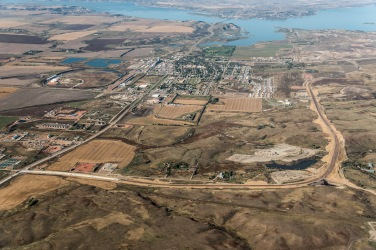 Aerial Photos of the ND Highway 23 Truck Route diverting heavy oil traffic around New Town, ND