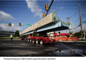 Transporting pre-fabricated superstructure sections - 10th Street